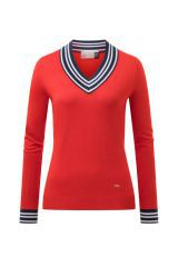 Kjus W Karen Pullover V-Neck Red/Atlanta Blue